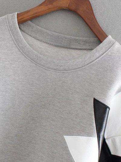 PU Leather Pentagram Pattern Sweatshirt - SAGE GREEN ONE SIZE Mobile