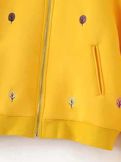 Tree Embroidered Space Cotton Jacket - YELLOW L Mobile