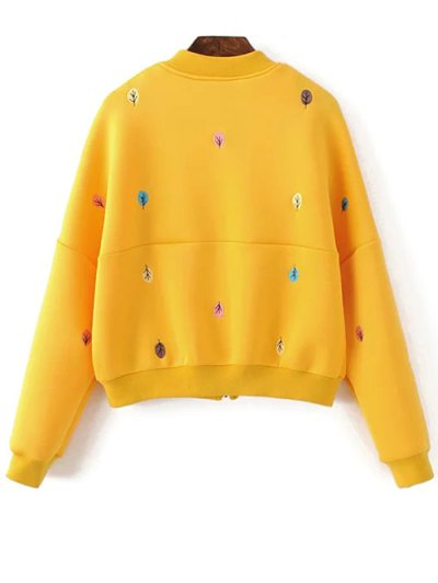 Tree Embroidered Space Cotton Jacket - YELLOW M Mobile