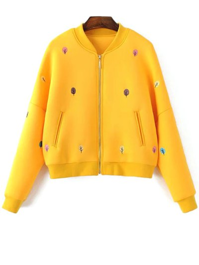 Tree Embroidered Space Cotton Jacket - YELLOW S Mobile