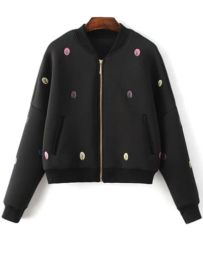 Tree Embroidered Space Cotton Jacket - BLACK M Mobile