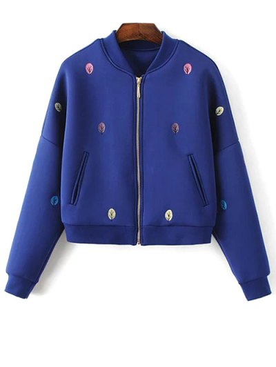 Tree Embroidered Space Cotton Jacket - BLUE L Mobile