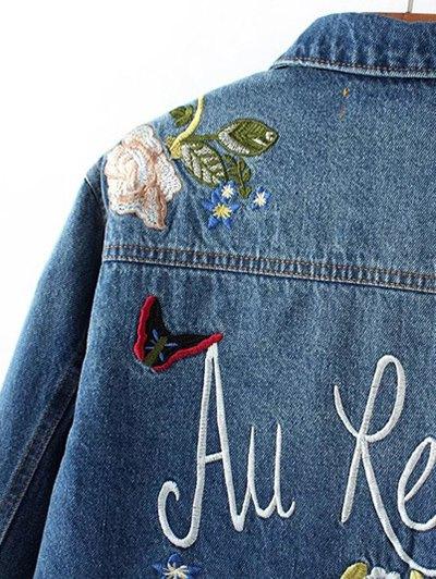 Dark Wash Floral Embroidered Jean Jacket - DENIM BLUE L Mobile