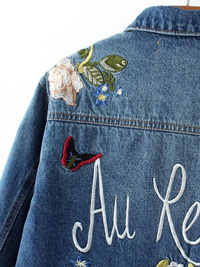 Dark Wash Floral Embroidered Jean Jacket - DENIM BLUE S Mobile