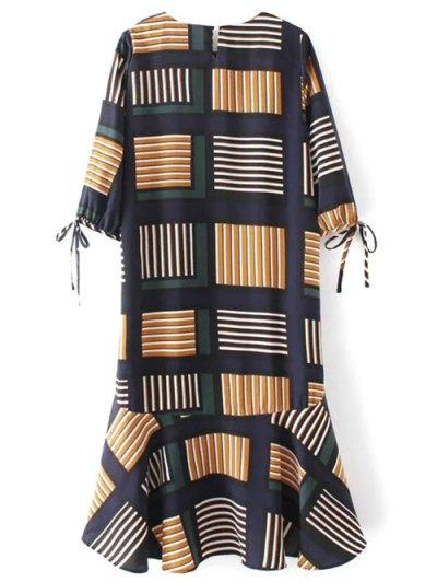 Plaid High Low Ruffles Dress - COLORMIX S Mobile