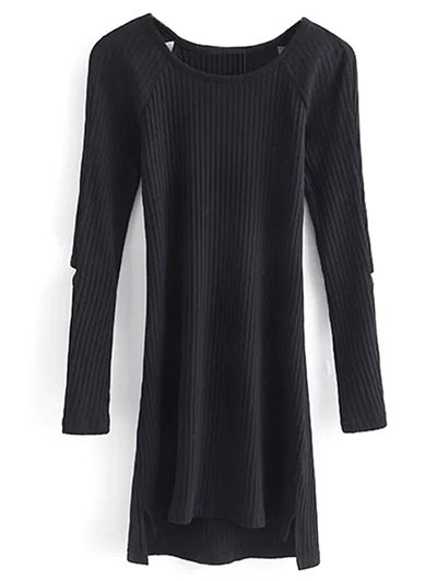 Cutout Ribbed Knitwear Dress - BLACK S Mobile
