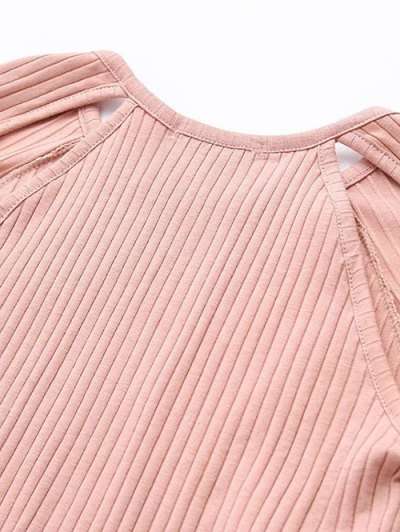 Cutout Ribbed Knitwear Dress - PINK M Mobile