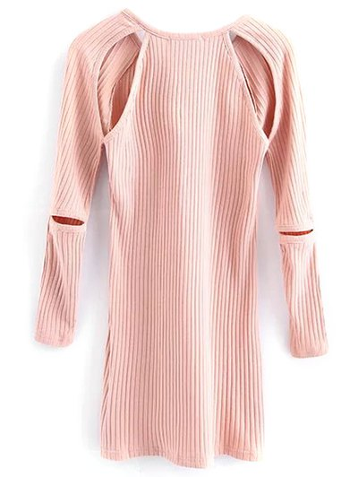 Cutout Ribbed Knitwear Dress - PINK S Mobile