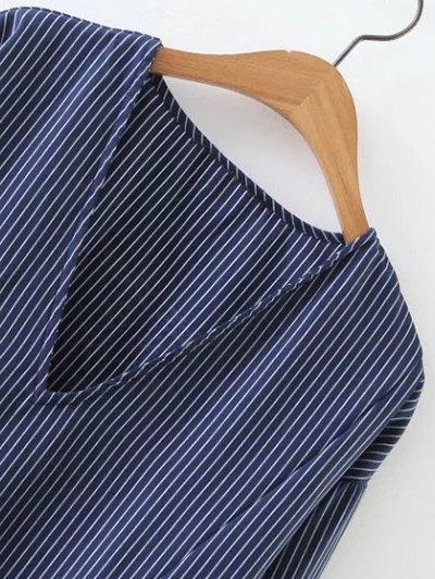Striped V Neck Sorry Dress - BLUE M Mobile