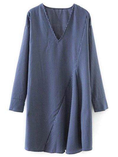 Striped V Neck Sorry Dress - BLUE S Mobile