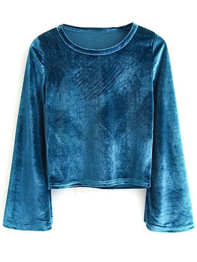 Pleuche Flare Sleeve Cropped Tee - PEACOCK BLUE M Mobile