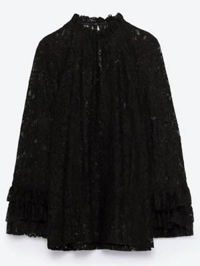 Layered Ruff Collar Lace Blouse - BLACK S Mobile