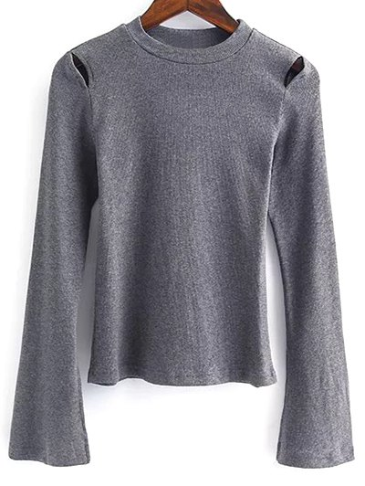 Flare Sleeve Cut Out Ribbed Knitwear - GRAY M Mobile