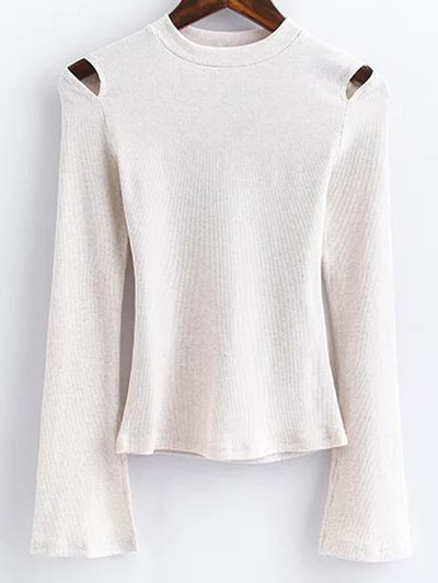 Flare Sleeve Cut Out Ribbed Knitwear - WHITE L Mobile