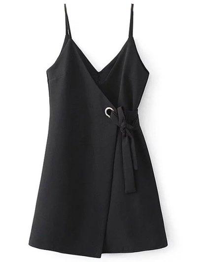 Self Tie Wrap Cami Dress - BLACK M Mobile