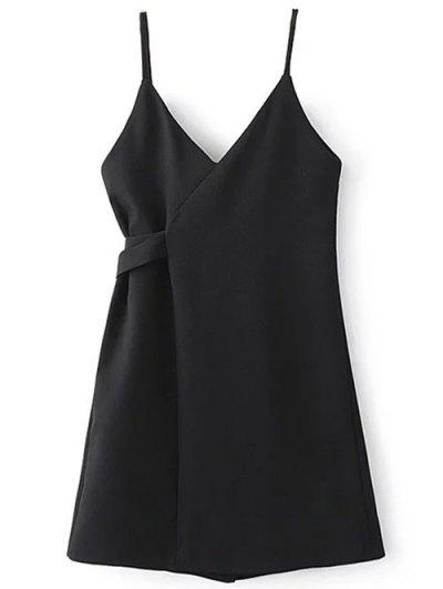 Self Tie Wrap Cami Dress - BLACK S Mobile