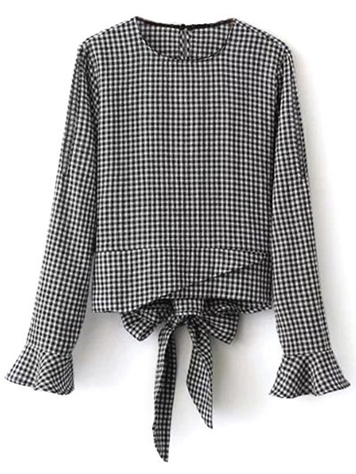 Flared Cuffs Gingham Check Blouse - WHITE AND BLACK M Mobile