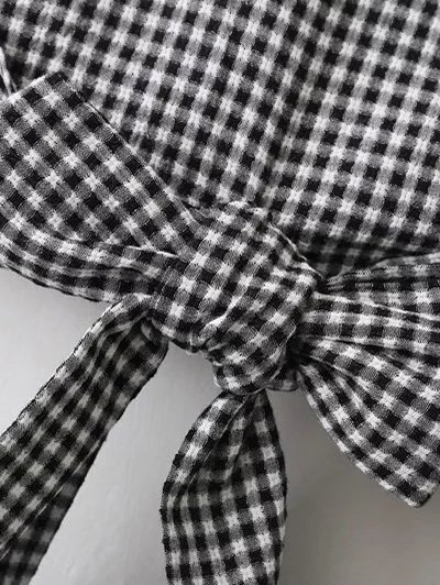 Flared Cuffs Gingham Check Blouse - WHITE AND BLACK L Mobile