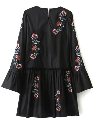 Long Bell Sleeve Embroidered Dress - BLACK L Mobile
