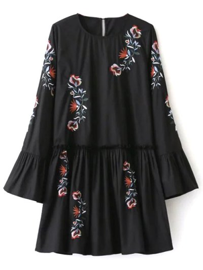 Long Bell Sleeve Embroidered Dress - BLACK M Mobile