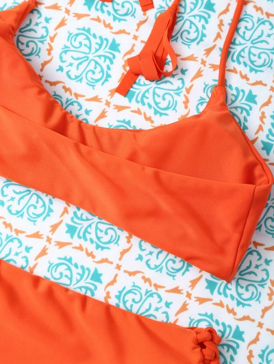 Tasselled Halter Bikini Set - ORANGE L Mobile