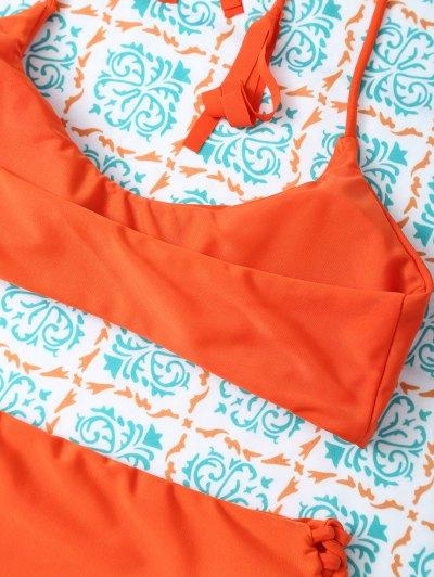 Tasselled Halter Bikini Set - ORANGE S Mobile