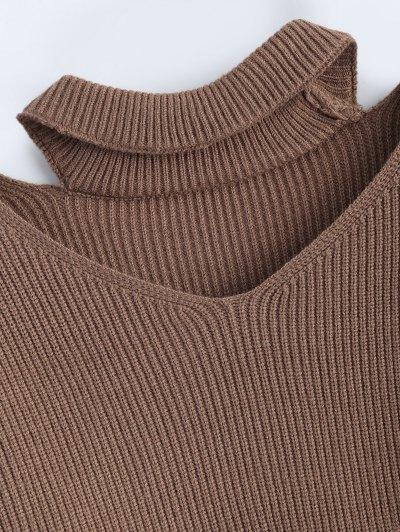 Zipped Sleeve Choker Jumper - KHAKI ONE SIZE Mobile