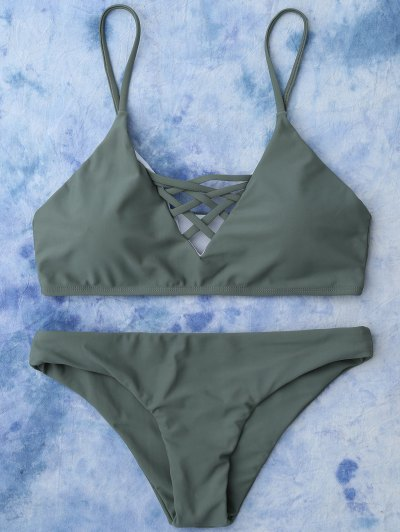 Lace Up Bikini Top and Bottoms - ARMY GREEN L Mobile