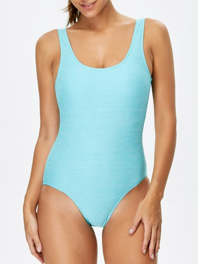 Backless Straps Padded Swimwear - LAKE GREEN L Mobile