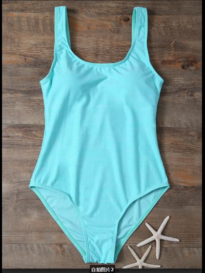Backless Straps Padded Swimwear - LAKE GREEN S Mobile