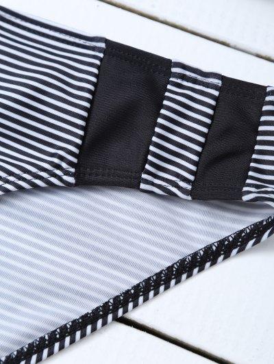 Stripe Plunge Bikini Set - WHITE AND BLACK L Mobile