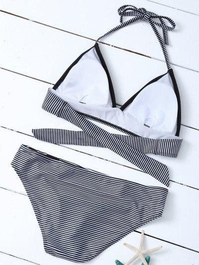 Stripe Plunge Bikini Set - WHITE AND BLACK M Mobile