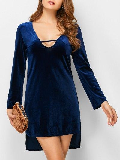 Velvet High-Low Mini Dress - BLUE XL Mobile