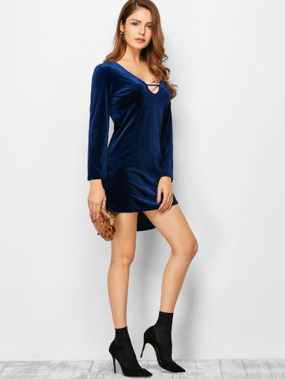 Velvet High-Low Mini Dress - BLUE L Mobile