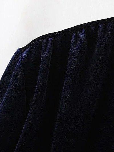 Mini Velvet Tunic Dress - PURPLISH BLUE L Mobile