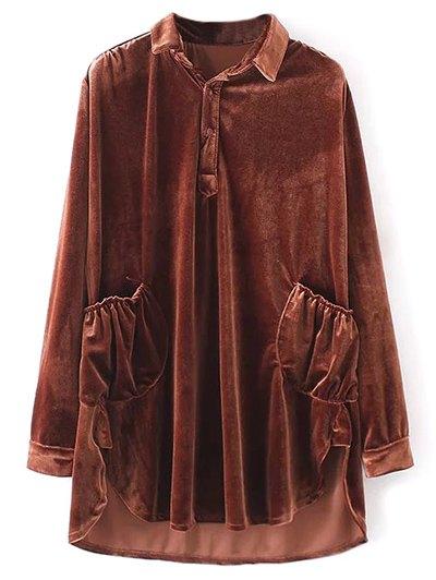 Mini Velvet Tunic Dress - BROWN L Mobile