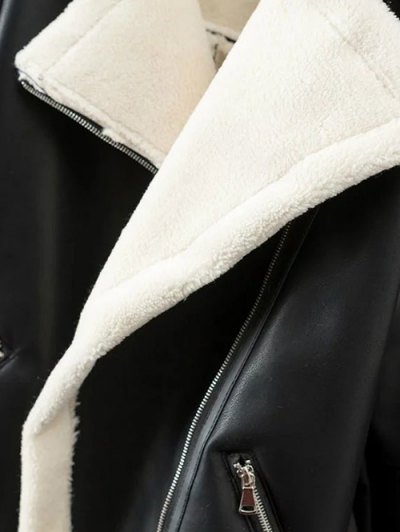 Lapel Faux Shearling Biker Jacket - BLACK S Mobile