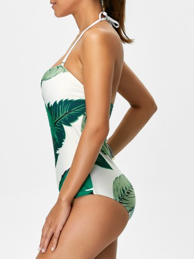 Palm Leaf Print One Piece Swimsuit - WHITE AND GREEN L Mobile