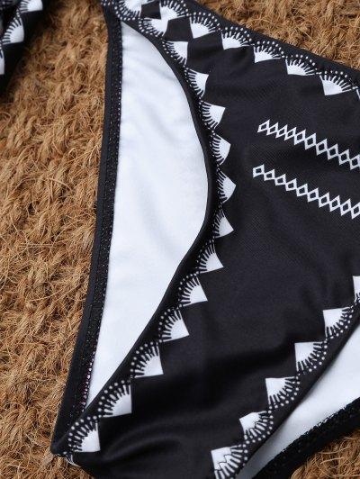 Tie Side Halter Thong Bikini - BLACK S Mobile
