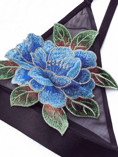 Floral Applique Mesh Plunge Bra - BLACK 80C Mobile