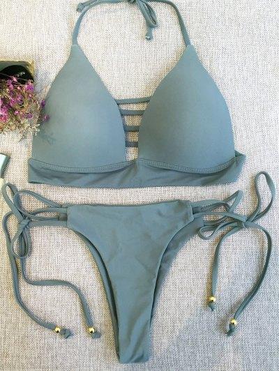 Plunge Bikini Top and Thong Bikini Bottoms - SAGE GREEN L Mobile