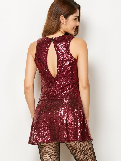 Sequined Cut Out Jewel Neck Dress - BURGUNDY XS Mobile