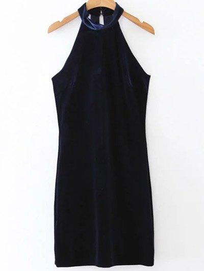 Halter Velvet Bodycon Dress - PURPLISH BLUE S Mobile