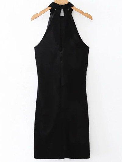 Halter Velvet Bodycon Dress - BLACK M Mobile
