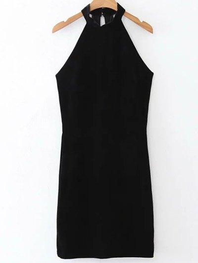 Halter Velvet Bodycon Dress - BLACK S Mobile