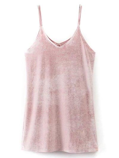 Cami Mini Velvet Dress - PINK L Mobile