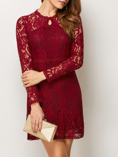 Openwork Long Sleeve Lace Mini Dress - RED L Mobile