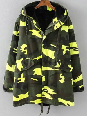 Camouflage Hooded Padded Utility Jacket - Army Green