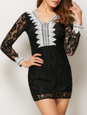 Mini Vestido De Encaje Con Cuello En V Bodycon - Negro