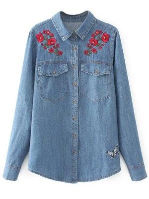 Embroidered Yoke Denim Shirt With Pockets - Denim Blue